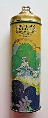 Vintage Richard Hudnut Talcum Powder Tin Violet Sec New York Paris Nos Usa