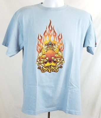 Vintage JNCO Jeans Blue Flames Dice Crown 8 Ball Cards T Shirt Large USA