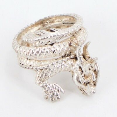 VTG Sterling Silver - Mythical Dragon Wrap Ring Size 8.5 - 10g