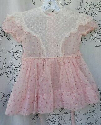 Vintage 50s Flocked ruffle lace Pink baby toddler girls dress party full skirt