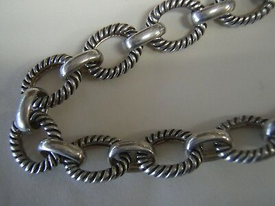 """618,Sterling Silver 925 Fancy Heavy Oval Rolo Link Toggle Clasp 18"""" Necklace 50g"""