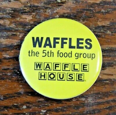 """Waffle House """"Waffles the 5th food group"""" Pinback pin button 1.5"""" yellow"""