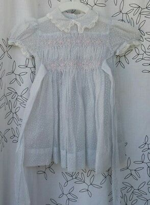 Vintage Swiss Dot Flocked lace embroidered sheer dress baby blue toddler girls