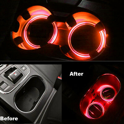 2pc Car Solar Power Cup Holder Bottom Pad LED Light Cover Trim Atmosphere Lights