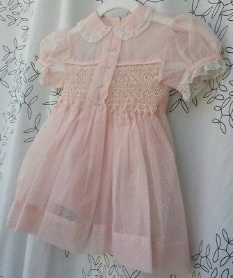 Vintage Sheer Flocked Swiss Dot embroidered pink baby toddler girls party dress