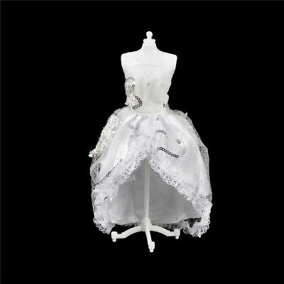 Elegant Doll White Wedding Dress Clothes Barbie Doll Party Gown Clothing BB