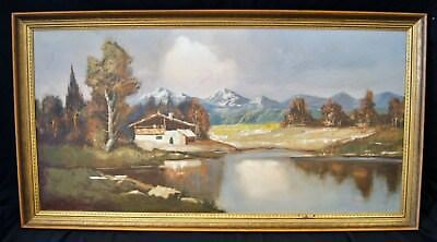 Toddz? Oil on Canvas Painting Lake Mountain Cabin Large Framed A1525
