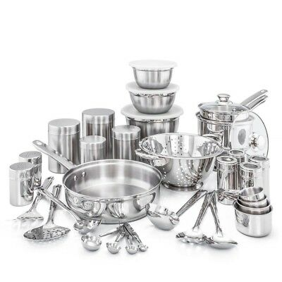Dutch 36-Piece Kitchen in a Box Stainless Steel Polished Cookware Assorted Set