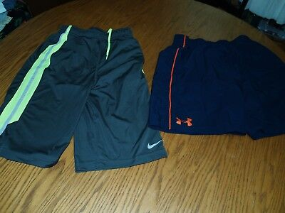 Lot Of 2~Youth~Under Armour~Nike Dri Fit~Athletic Shorts~Gym~Xl~Running Training