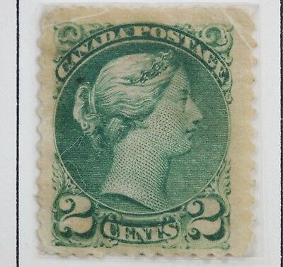 Canadian Stamp, Scott #36 Green 2 Cent G/F HH Small Queen