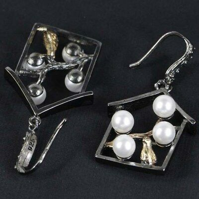 Vintage White Pearl With Song Bird Woman's Balck Gold Silver Earrings