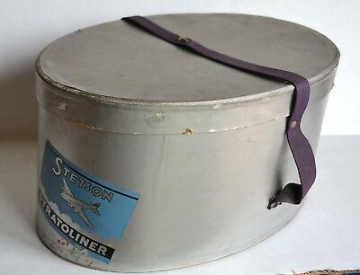 Vintage Men's STETSON STRATOLINER Hat BOX & Airplane PIN Silver Boeing 307 Decal