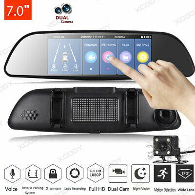 Full HD 1080P 7'' In Car DVR Camera Recorder Dual Lens Rearview Mirror Dash Cam