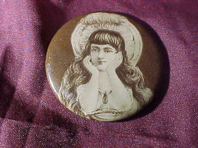 Early 20thc POCKET MIRROR w NAUGHTY Victorian WOMAN Image