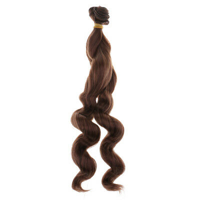 25cm Doll Wheat Long Wave Wig Hairpiece Toy Head Hair for Girl Dolls Sepia