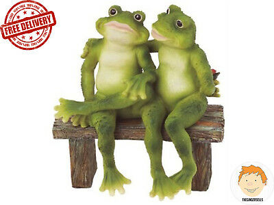 Outdoor Garden Frogs 2 Figurine Cute Statue Bench Decor Yard Home Lawn Gift
