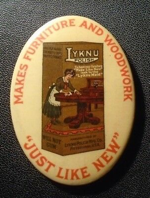 old celluloid pocket mirror advertising Lyknu Furniture Polish
