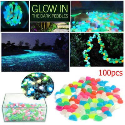 100pcs Night Visible Glow in Dark Pebbles Stepping Stone Walkway Garden Decor