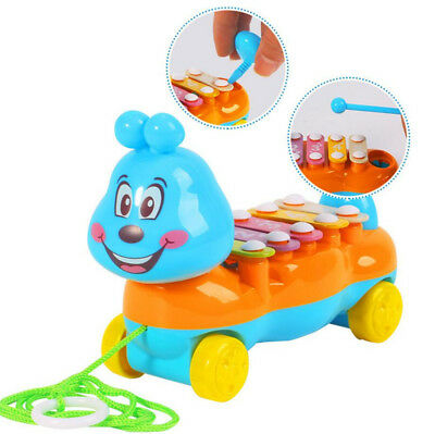 5 Tones Baby Hand Knock Piano Educational Toy Kids Pull Along Walker Musical Toy