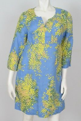 00b245bf1c8 Boden Size US 6R Blue Yellow Floral Watercolor V Neck Casual Tunic Dress  Linen