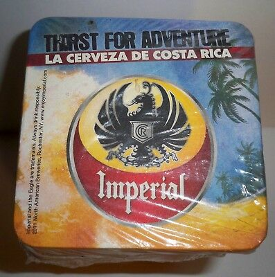 """Full Sleeve Of 125 Imperial Beer Bar Coasters 4"""" Square *cerveza De Costa Rica*"""