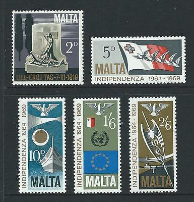 1969 MALTA 5th Anniversary Independence Set MNH (Scott 404-408)