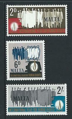 1968 MALTA International Human Rights Year Set MNH (Scott 381-383)