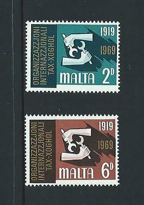 1969 MALTA 50th Anniversary I.L.O. Set MNH (Scott 398-399)