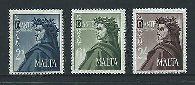 1965 MALTA Dante Set MNH (Scott 331-333)