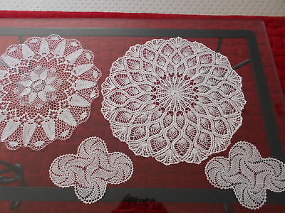 Selection Of 4 Exquisite Vintage Hand Made Crochet Lace Doilies