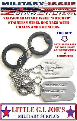 """DOG TAGS Vintage Genuine Military Issue """"WITH NOTCH MILITARY DOG TAGS"""