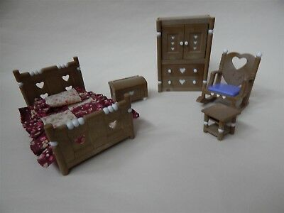 Sylvanian Families country bedroom furniture with heart details