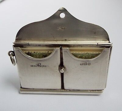 Superb Rare English Antique 1912 Sterling Silver Double Stamp Case & Note Sheet