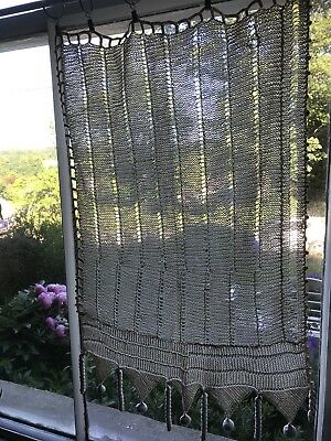 Beautiful Antique French Lace Curtain Panel Handmade Crochet Some Wear