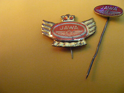 Lot of 2 JAWA  Motorcycle very old lapel,hat pin badge...tin 1950s,other 1960s.