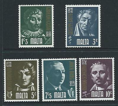 1974 MALTA Prominent Maltese Set MNH (Scott 475-479)