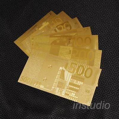 1Set Gold Foil Euro Coin 5 10 20 50 100 200 500 Currency EU Banknotes_Souvenirs