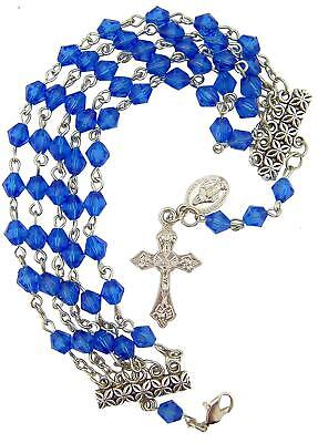 Silver Tone Miraculous Medal and Crucifix Charm with Rosary Bracelet, 7 Inch