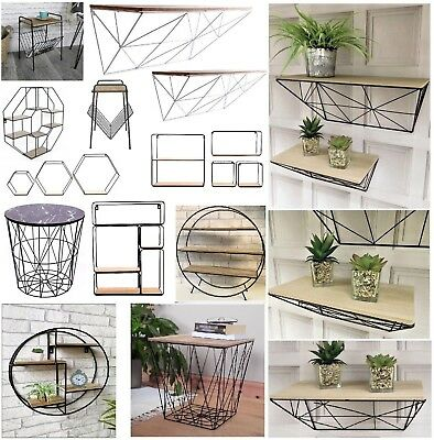 Vintage Wall Storage Unit Retro Wood Industrial Style Metal Wire Shelf Rack New