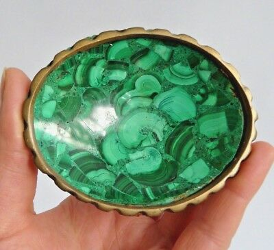 Vintage natural Malachite stone bowl- Gorgeous natural features- brass rim.
