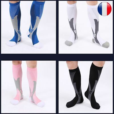 Homme Femme Paire Chaussettes Compression Football Sports Courses Gym Respirable