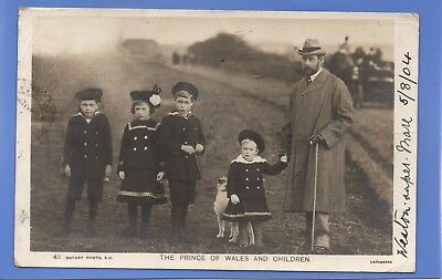 Old Vintage 1904 Rp Postcard Prince Of Wales And Children Royalty