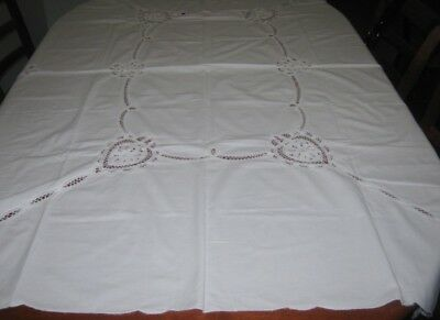 Vintage Battenburg Lace Tablecloth ~ Cotton ~ White ~ Oblong