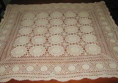 Vintage Crocheted Lace Tablecloth ~ Cotton ~ Cream ~ Square