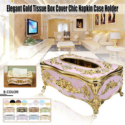 L European Luxury Gold Elegant Tissue Box Cover Napkin Case Holder Organizer AU