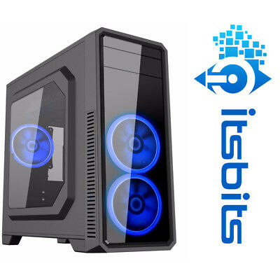 GAMEMAX G561 ATX CASE TRANSPARENT LH PANEL 3x BLUE RING LED FANS USB 3.0 + SOUND
