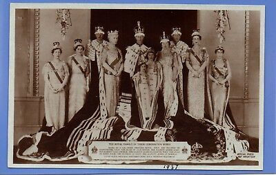 Old Vintage Rp Postcard The Royal Family In Their Coronation Robes Royalty