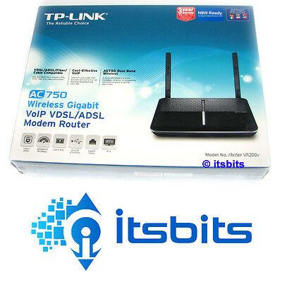 TP-LINK VR200v VDSL FTTN & ADSL ViOP WIRELESS AC750 GIGABIT 4 PORT MODEM ROUTER