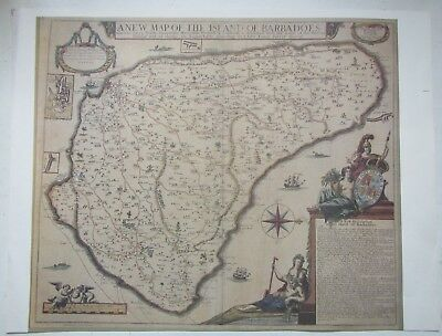 Replica Print of An Old Map of The Island of Barbadoes - By George Willdey
