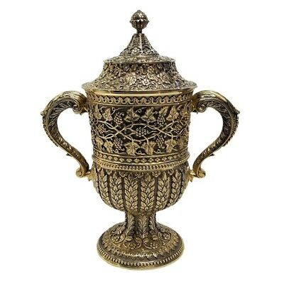 Antique English Silver Gilt Cup & Cover, Kutch Style, Hancocks & Co, London 1870